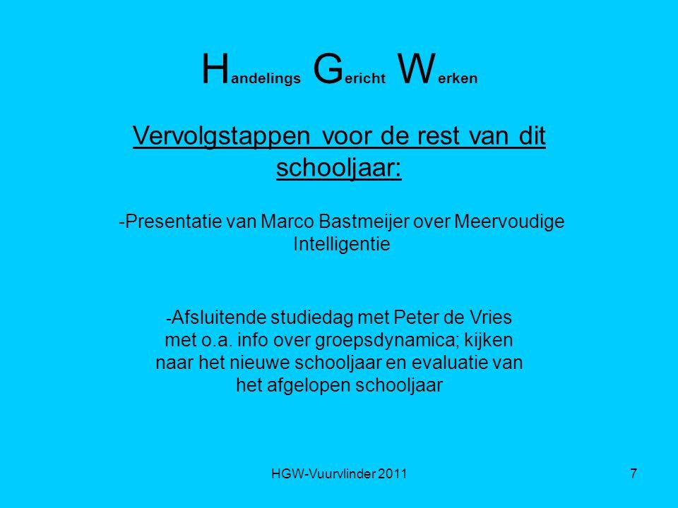 HGW-Vuurvlinder 20117 H andelings G ericht W erken Vervolgstappen voor de rest van dit schooljaar: -Presentatie van Marco Bastmeijer over Meervoudige Intelligentie - Afsluitende studiedag met Peter de Vries met o.a.