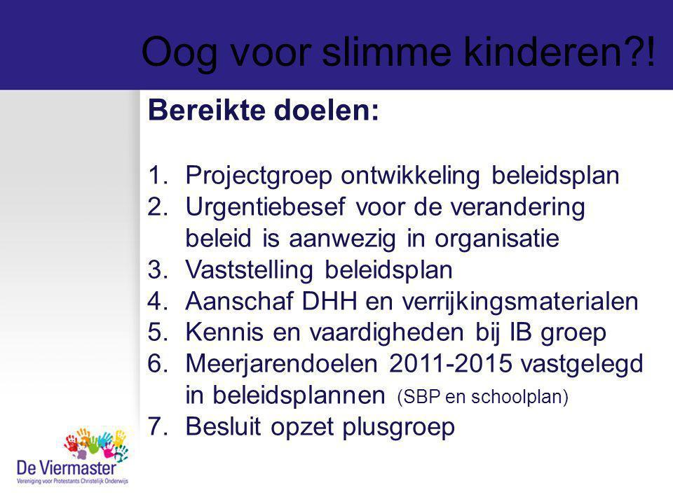 Oog voor slimme kinderen?! Bereikte doelen: 1.Projectgroep ontwikkeling beleidsplan 2.Urgentiebesef voor de verandering beleid is aanwezig in organisa