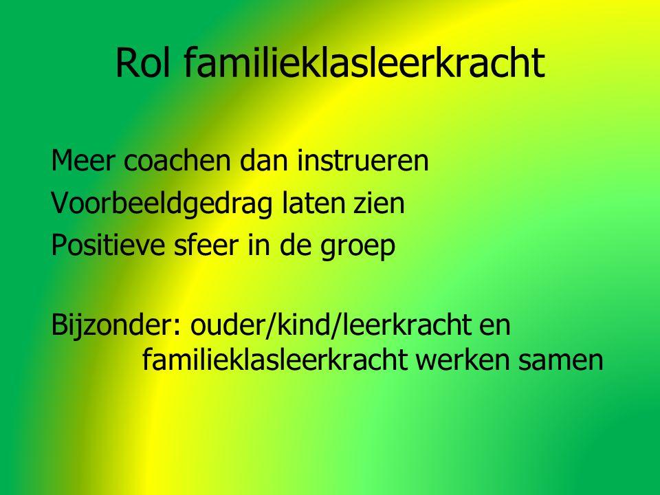 Rol familieklasleerkracht Meer coachen dan instrueren Voorbeeldgedrag laten zien Positieve sfeer in de groep Bijzonder: ouder/kind/leerkracht en familieklasleerkracht werken samen