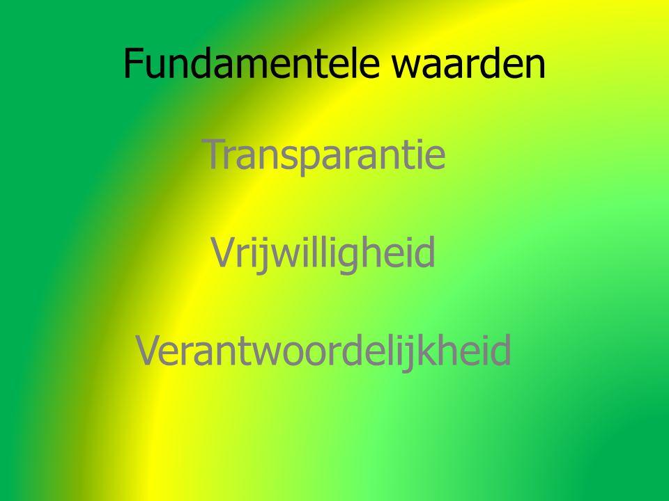 Fundamentele waarden Transparantie Vrijwilligheid Verantwoordelijkheid