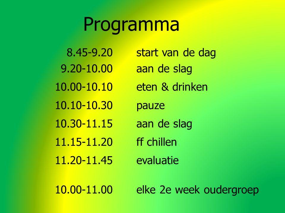 Programma 8.45-9.20start van de dag 9.20-10.00aan de slag 10.00-10.10eten & drinken 10.10-10.30pauze 10.30-11.15aan de slag 11.15-11.20ff chillen 11.20-11.45evaluatie 10.00-11.00elke 2e week oudergroep