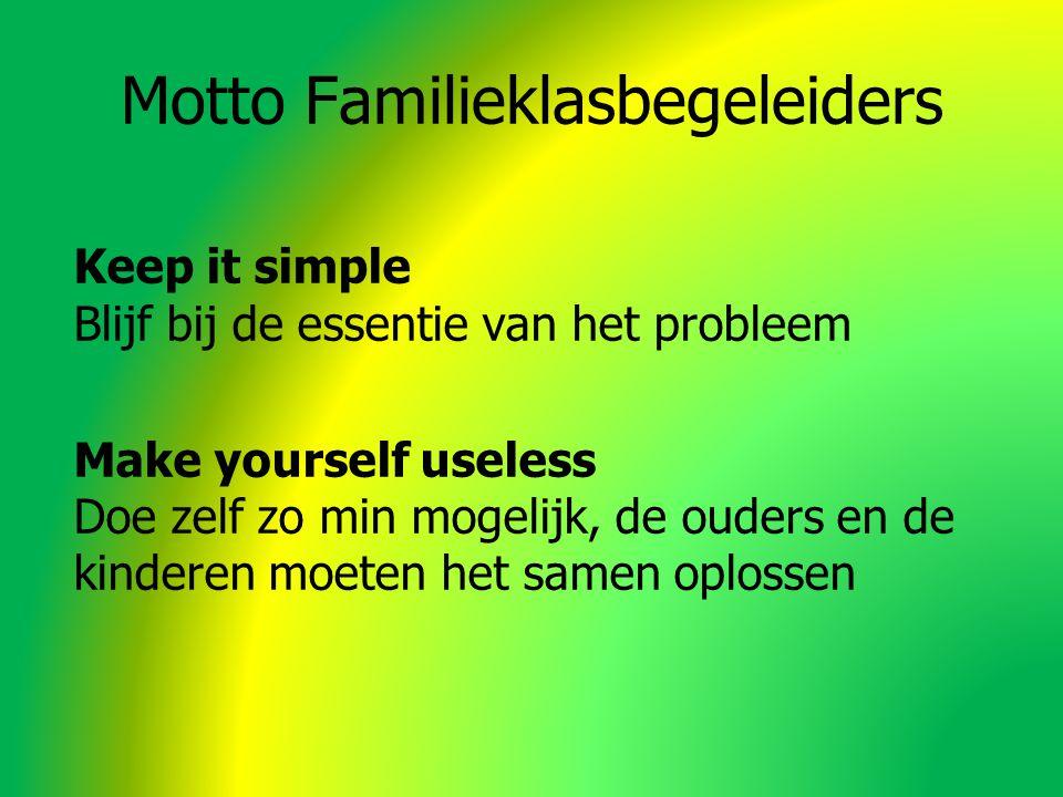 Motto Familieklasbegeleiders Keep it simple Blijf bij de essentie van het probleem Make yourself useless Doe zelf zo min mogelijk, de ouders en de kinderen moeten het samen oplossen