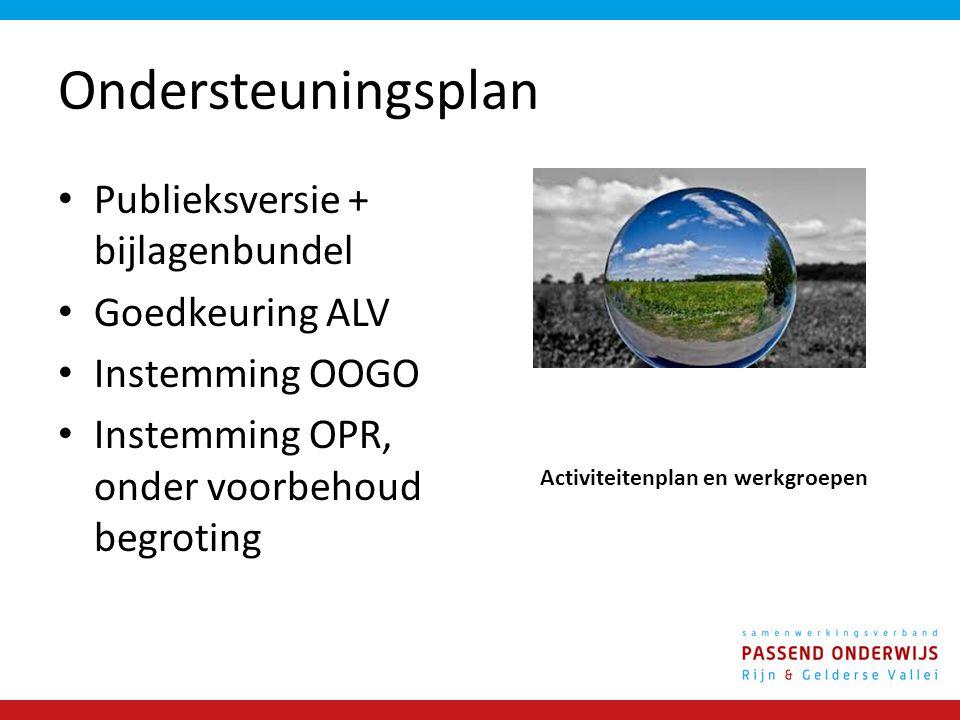 Ondersteuningsplan Publieksversie + bijlagenbundel Goedkeuring ALV Instemming OOGO Instemming OPR, onder voorbehoud begroting Activiteitenplan en werkgroepen