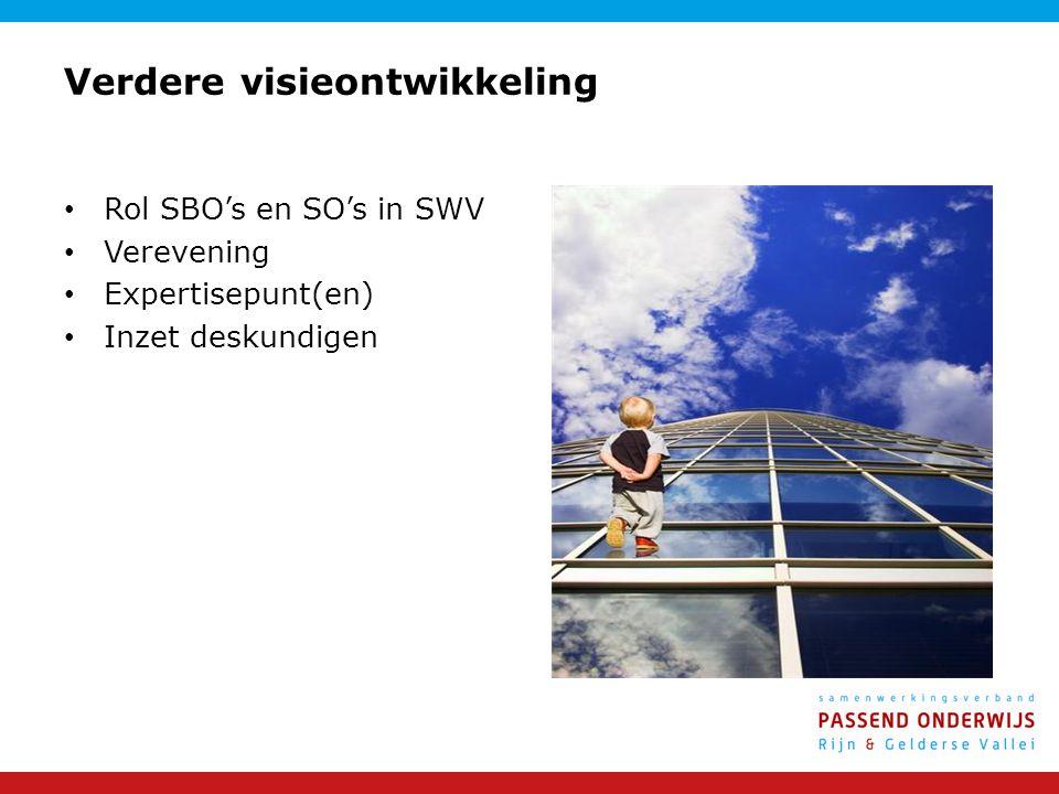 Verdere visieontwikkeling Rol SBO's en SO's in SWV Verevening Expertisepunt(en) Inzet deskundigen