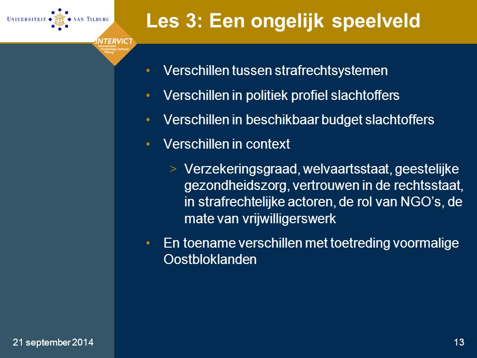 21 september 201413 Les 3: Een ongelijk speelveld Verschillen tussen strafrechtsystemen Verschillen in politiek profiel slachtoffers Verschillen in be