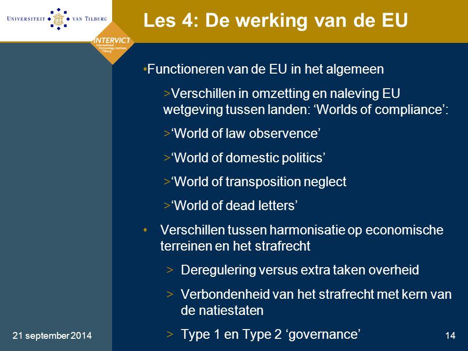 21 september 201414 Les 4: De werking van de EU Functioneren van de EU in het algemeen >Verschillen in omzetting en naleving EU wetgeving tussen lande