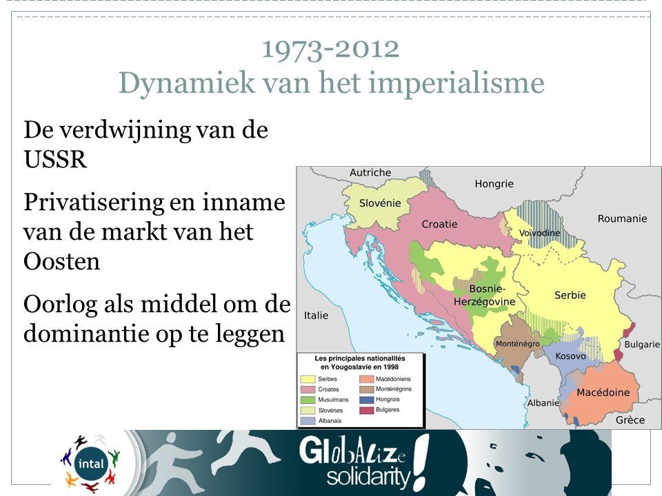 1973-2012 Dynamiek van het imperialisme De verdwijning van de USSR Privatisering en inname van de markt van het Oosten Oorlog als middel om de dominantie op te leggen