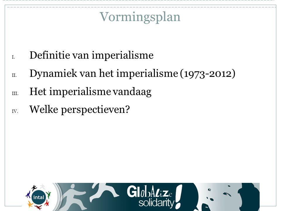 Tegenstelling derde wereld - imperialisme Sancties, interventies, oorlogen Libië Ivoorkust Dreiging tegen Syrië en Iran Militaire basissen in Colombia 2012 Het imperialisme vandaag