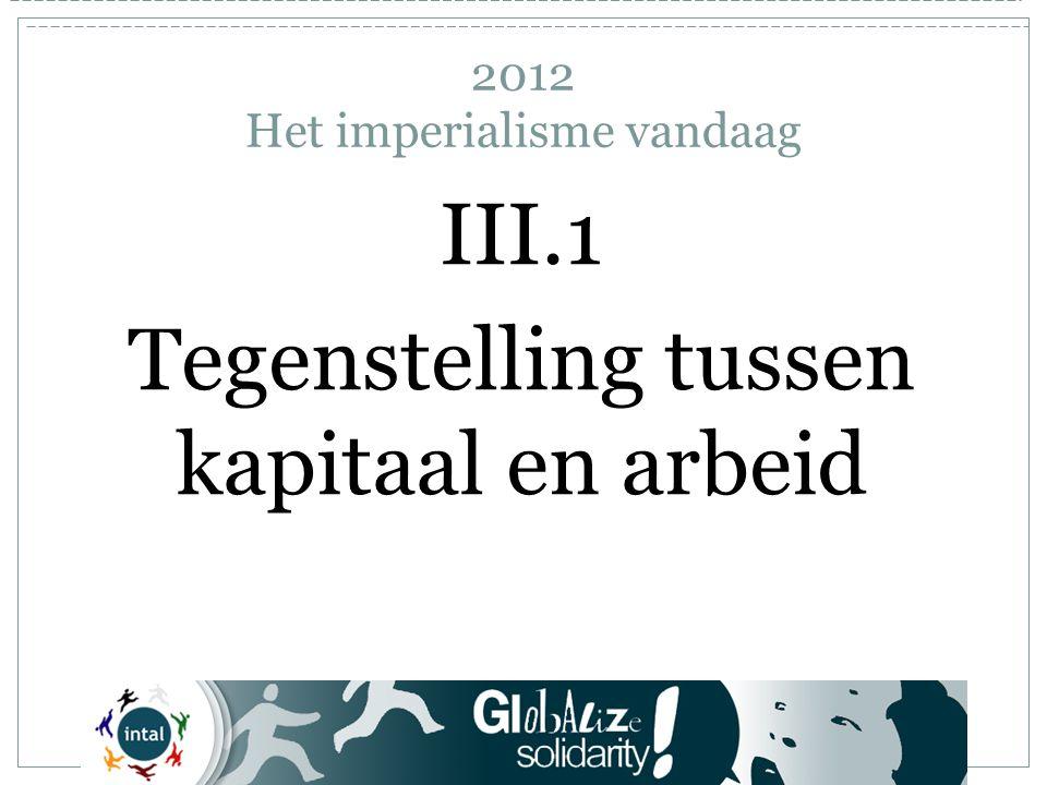 III.1 Tegenstelling tussen kapitaal en arbeid 2012 Het imperialisme vandaag