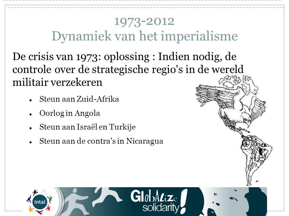 1973-2012 Dynamiek van het imperialisme De crisis van 1973: oplossing : Indien nodig, de controle over de strategische regio s in de wereld militair verzekeren Steun aan Zuid-Afrika Oorlog in Angola Steun aan Israël en Turkije Steun aan de contra s in Nicaragua