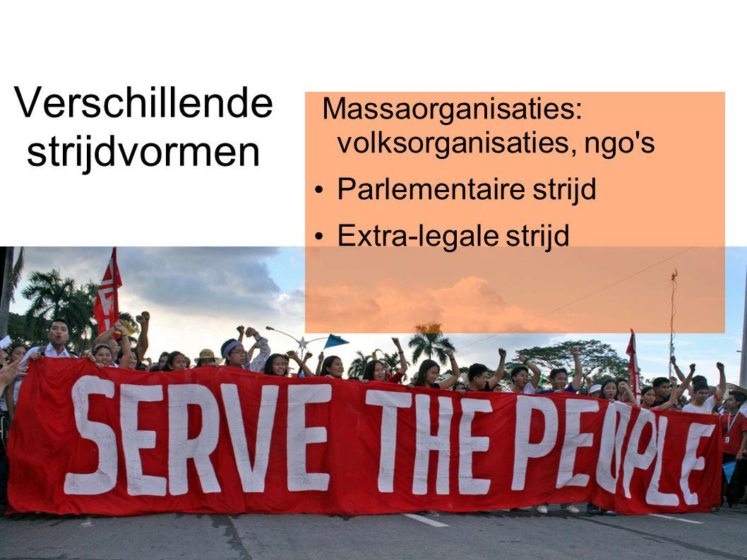 Verschillende strijdvormen Massaorganisaties: volksorganisaties, ngo s Parlementaire strijd Extra-legale strijd
