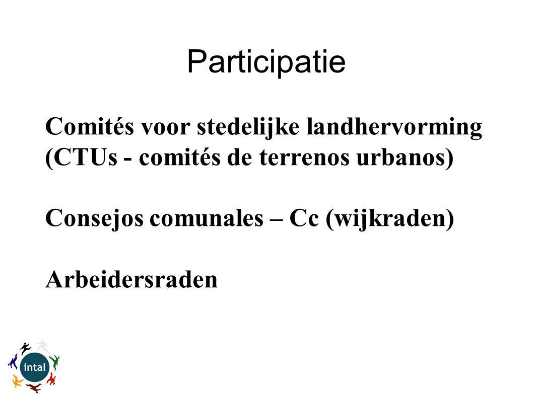 Participatie Comités voor stedelijke landhervorming (CTUs - comités de terrenos urbanos) Consejos comunales – Cc (wijkraden) Arbeidersraden