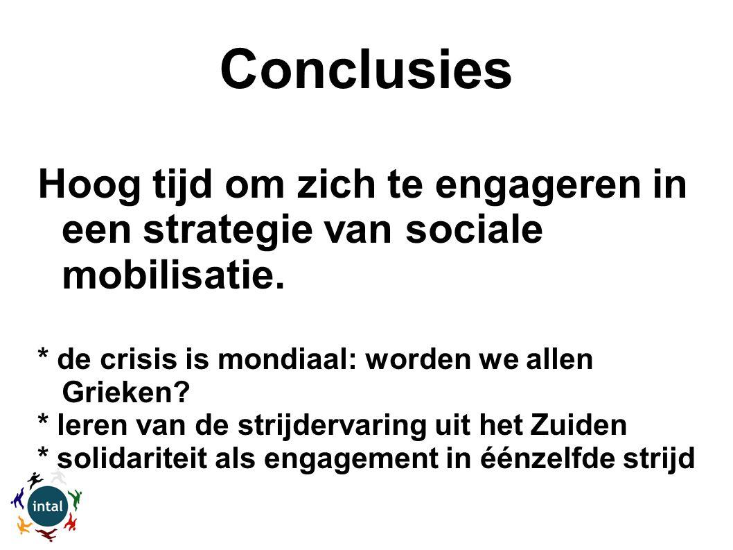 Conclusies Hoog tijd om zich te engageren in een strategie van sociale mobilisatie.