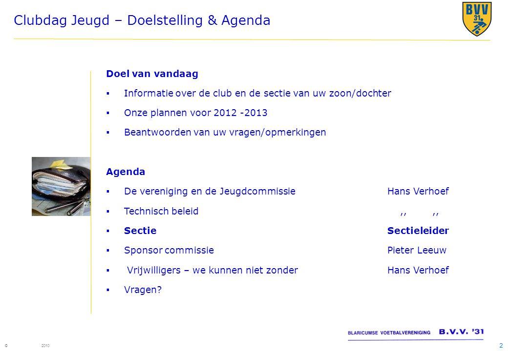 2 © 2010 Clubdag Jeugd – Doelstelling & Agenda Doel van vandaag  Informatie over de club en de sectie van uw zoon/dochter  Onze plannen voor 2012 -2