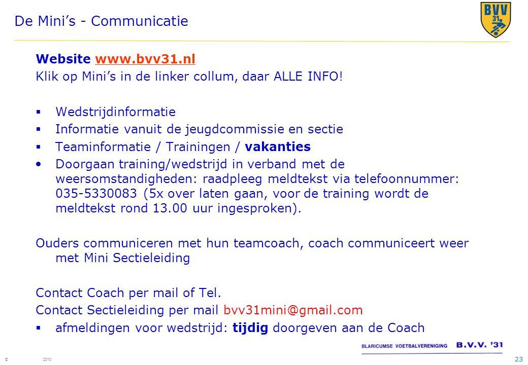 23 © 2010 De Mini's - Communicatie Website www.bvv31.nlwww.bvv31.nl Klik op Mini's in de linker collum, daar ALLE INFO!  Wedstrijdinformatie  Inform