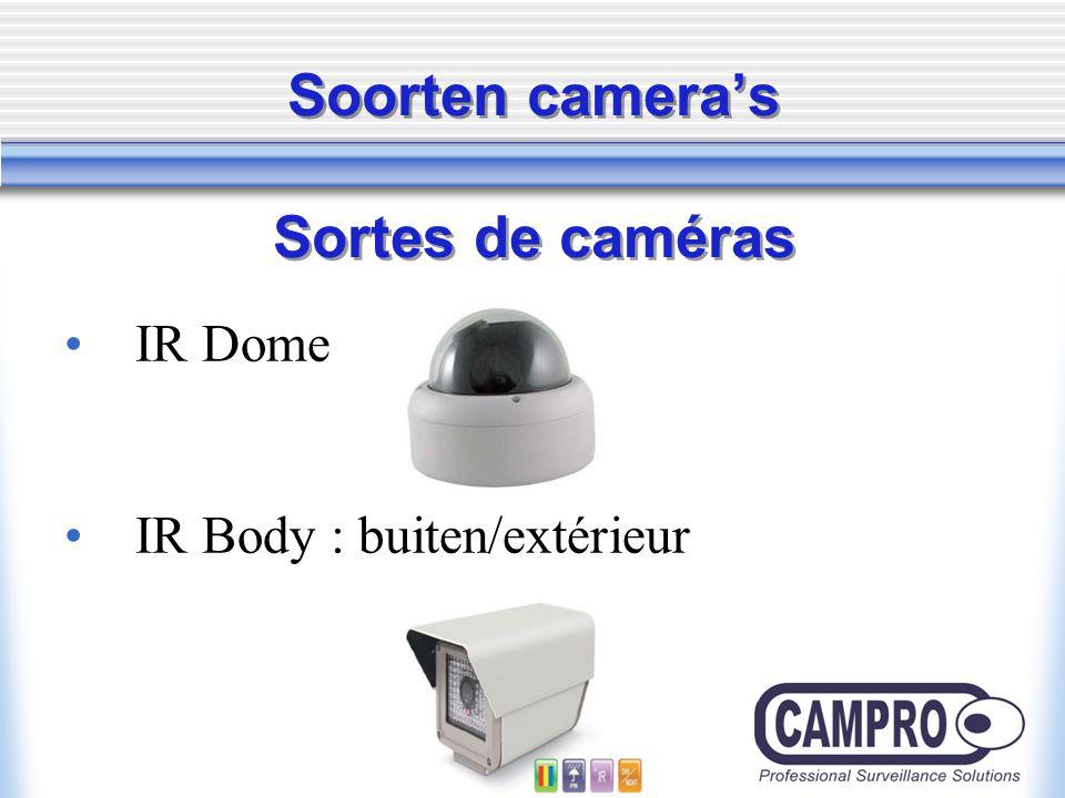 Soorten camera's Sortes de caméras IR Dome IR Body : buiten/extérieur