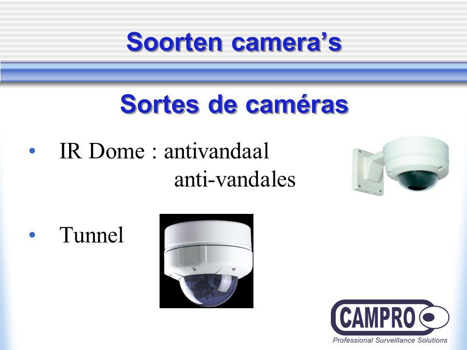 Soorten camera's Sortes de caméras IR Dome : antivandaal anti-vandales Tunnel