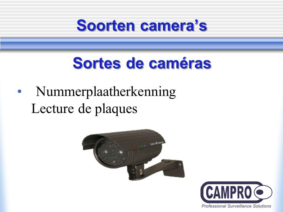 Soorten camera's Sortes de caméras Nummerplaatherkenning Lecture de plaques