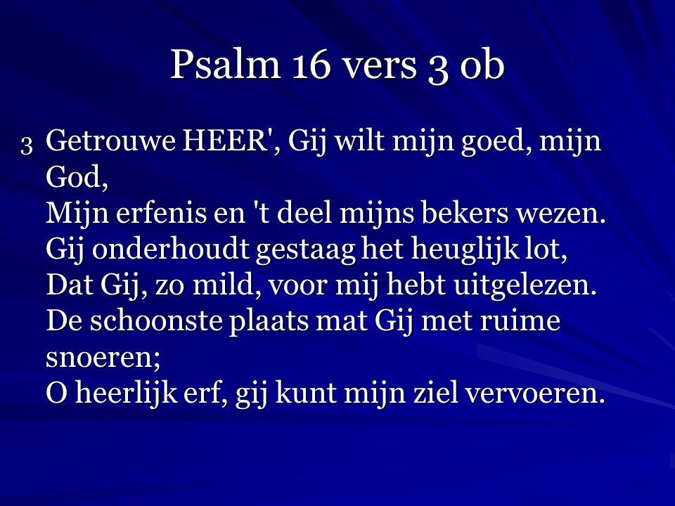 Psalm 16 vers 3 ob 3 Getrouwe HEER', Gij wilt mijn goed, mijn God, Mijn erfenis en 't deel mijns bekers wezen. Gij onderhoudt gestaag het heuglijk lot