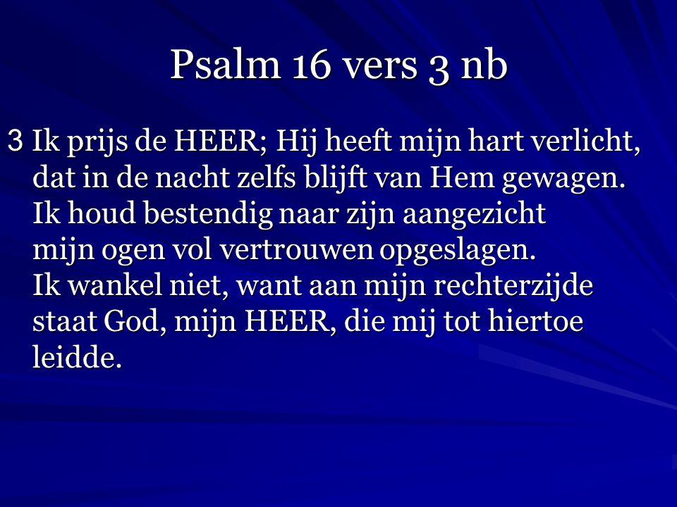 Psalm 16 vers 3 nb 3 Ik prijs de HEER; Hij heeft mijn hart verlicht, dat in de nacht zelfs blijft van Hem gewagen. Ik houd bestendig naar zijn aangezi