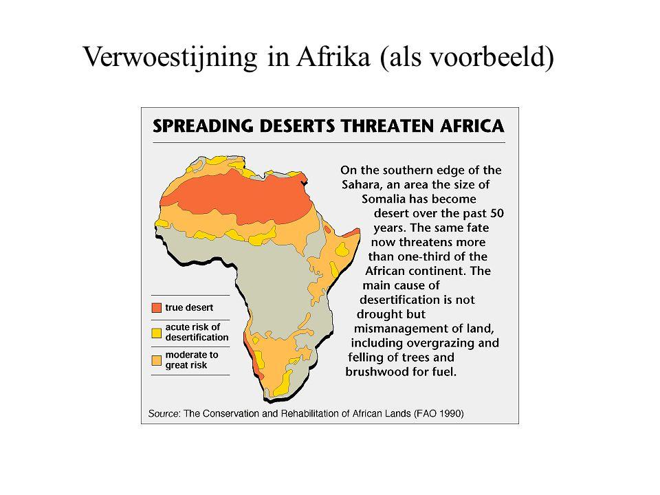 Verwoestijning in Afrika (als voorbeeld)