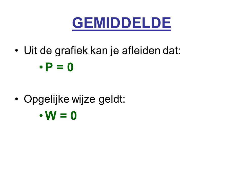 GEMIDDELDE Uit de grafiek kan je afleiden dat: P = 0 Opgelijke wijze geldt: W = 0