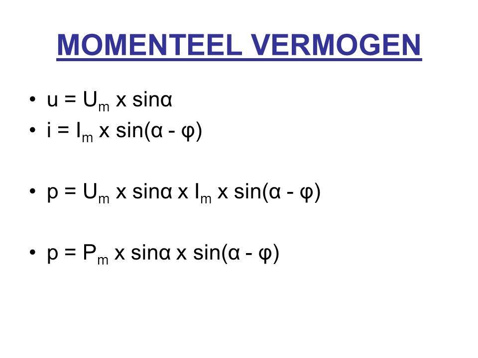 MOMENTEEL VERMOGEN u = U m x sinα i = I m x sin(α - φ) p = U m x sinα x I m x sin(α - φ) p = P m x sinα x sin(α - φ)