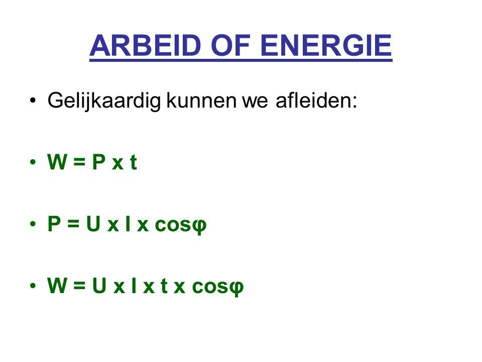 ARBEID OF ENERGIE Gelijkaardig kunnen we afleiden: W = P x t P = U x I x cosφ W = U x I x t x cosφ