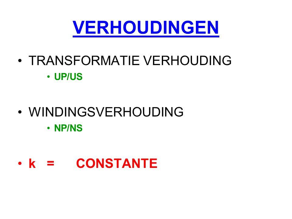 VERHOUDINGEN TRANSFORMATIE VERHOUDING UP/US WINDINGSVERHOUDING NP/NS k=CONSTANTE
