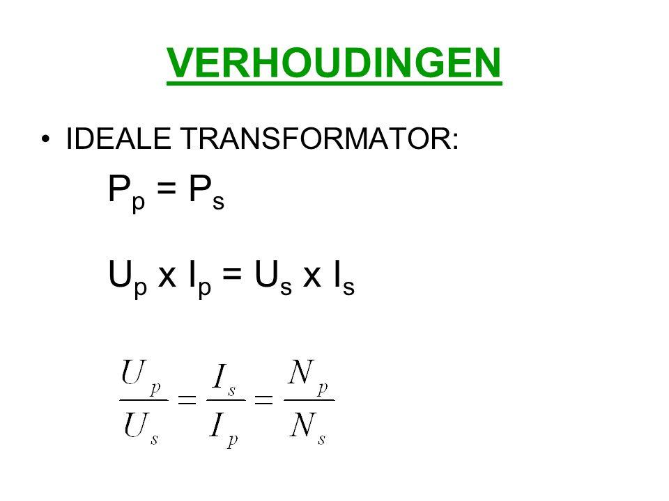 IDEALE TRANSFORMATOR: P p = P s U p x I p = U s x I s
