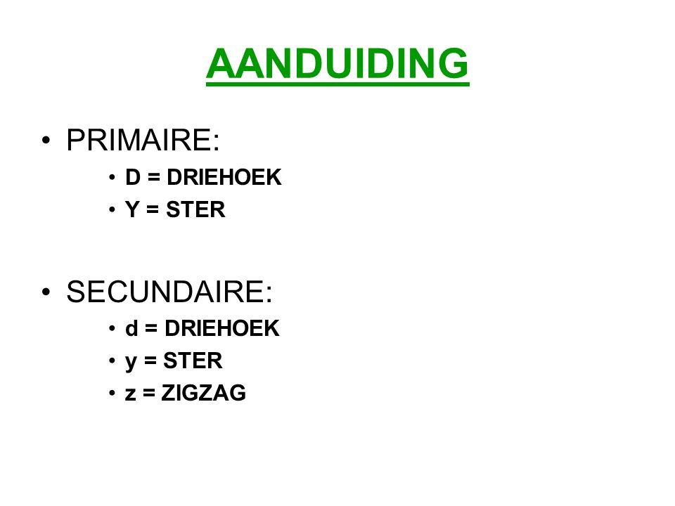 AANDUIDING PRIMAIRE: D = DRIEHOEK Y = STER SECUNDAIRE: d = DRIEHOEK y = STER z = ZIGZAG