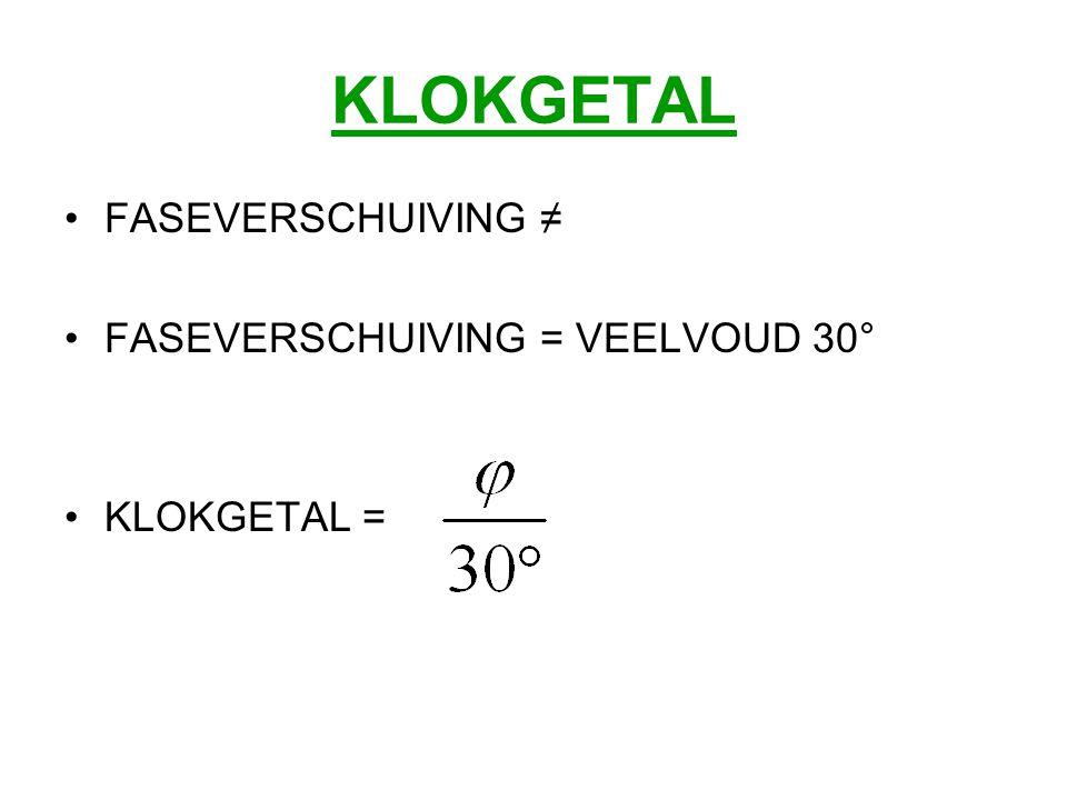 KLOKGETAL FASEVERSCHUIVING ≠ FASEVERSCHUIVING = VEELVOUD 30° KLOKGETAL =