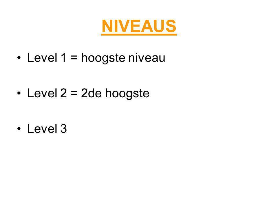 NIVEAUS Level 1 = hoogste niveau Level 2 = 2de hoogste Level 3