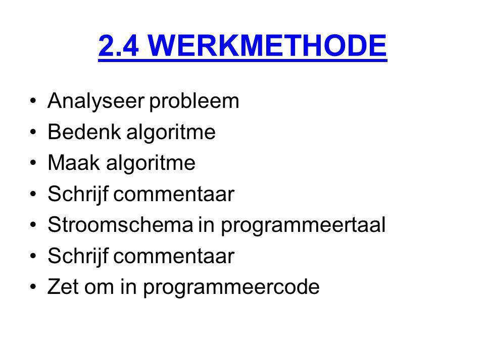 2.4 WERKMETHODE Analyseer probleem Bedenk algoritme Maak algoritme Schrijf commentaar Stroomschema in programmeertaal Schrijf commentaar Zet om in programmeercode