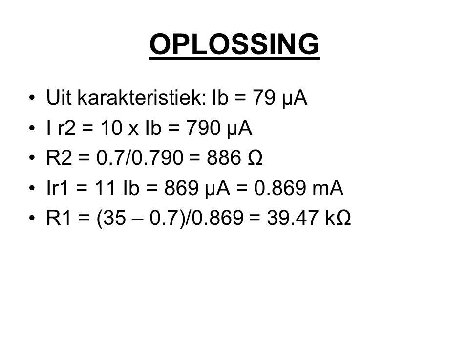 OPLOSSING Uit karakteristiek: Ib = 79 µA I r2 = 10 x Ib = 790 µA R2 = 0.7/0.790 = 886 Ω Ir1 = 11 Ib = 869 µA = 0.869 mA R1 = (35 – 0.7)/0.869 = 39.47