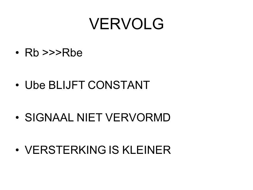 SPANNINGSSTURING Rb <<<< Rbe Ube IS NIET CONSTANT SIGNAAL WORDT VERVORMD VERSTERKING IS GROTER