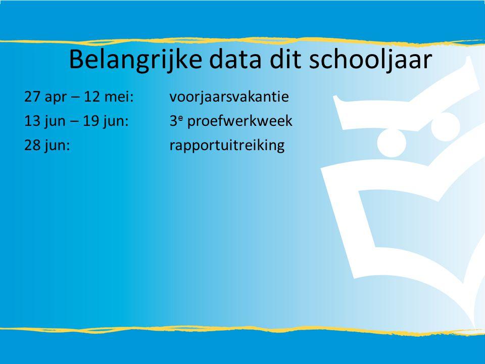 27 apr – 12 mei:voorjaarsvakantie 13 jun – 19 jun:3 e proefwerkweek 28 jun:rapportuitreiking Belangrijke data dit schooljaar