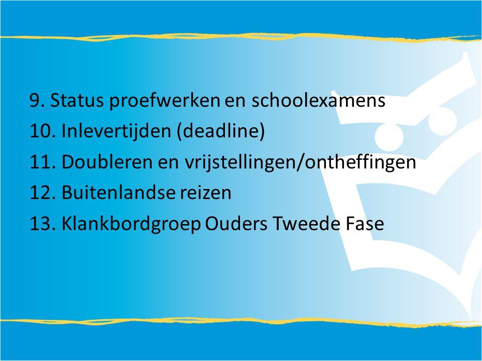 9. Status proefwerken en schoolexamens 10. Inlevertijden (deadline) 11. Doubleren en vrijstellingen/ontheffingen 12. Buitenlandse reizen 13. Klankbord