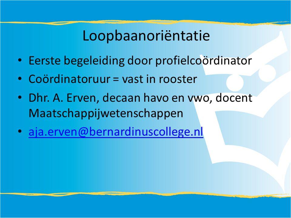 Loopbaanoriëntatie Eerste begeleiding door profielcoördinator Coördinatoruur = vast in rooster Dhr.