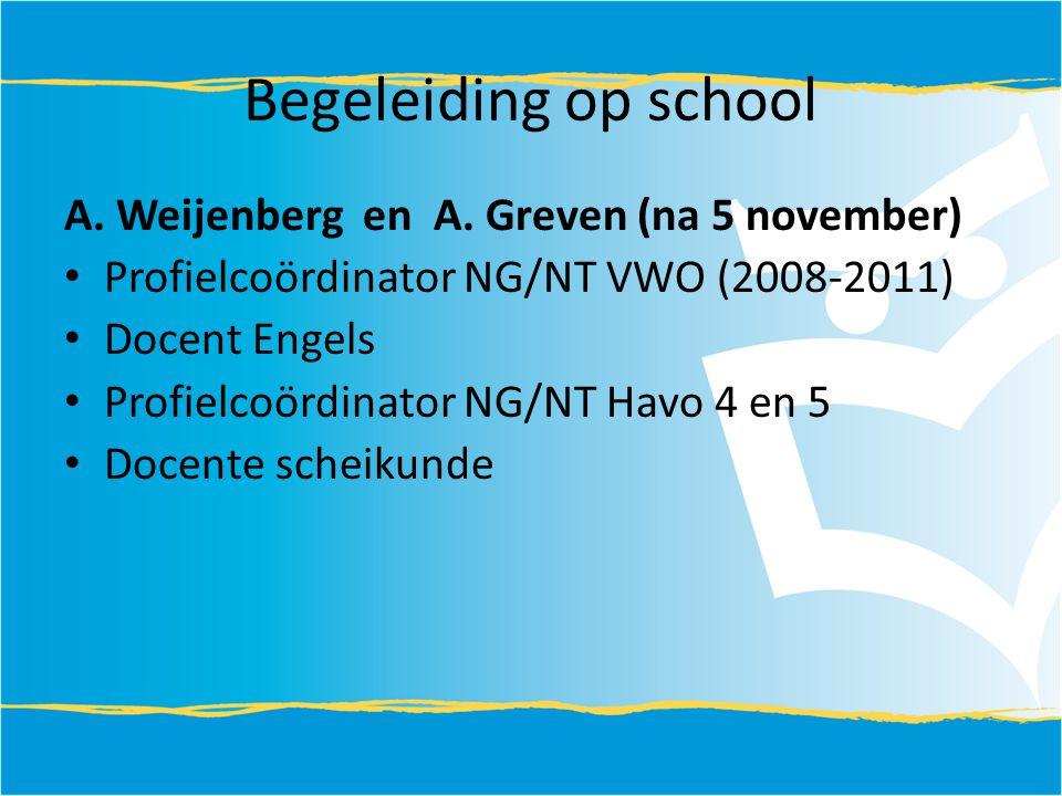 Begeleiding op school A. Weijenberg en A. Greven (na 5 november) Profielcoördinator NG/NT VWO (2008-2011) Docent Engels Profielcoördinator NG/NT Havo