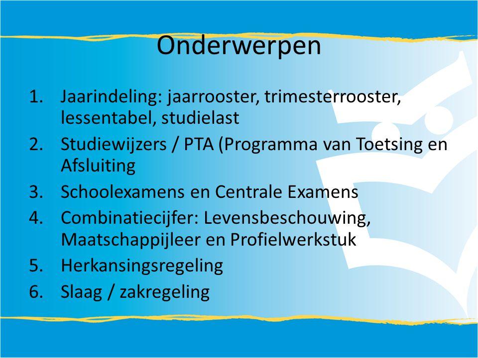 Onderwerpen 1.Jaarindeling: jaarrooster, trimesterrooster, lessentabel, studielast 2.Studiewijzers / PTA (Programma van Toetsing en Afsluiting 3.Schoo