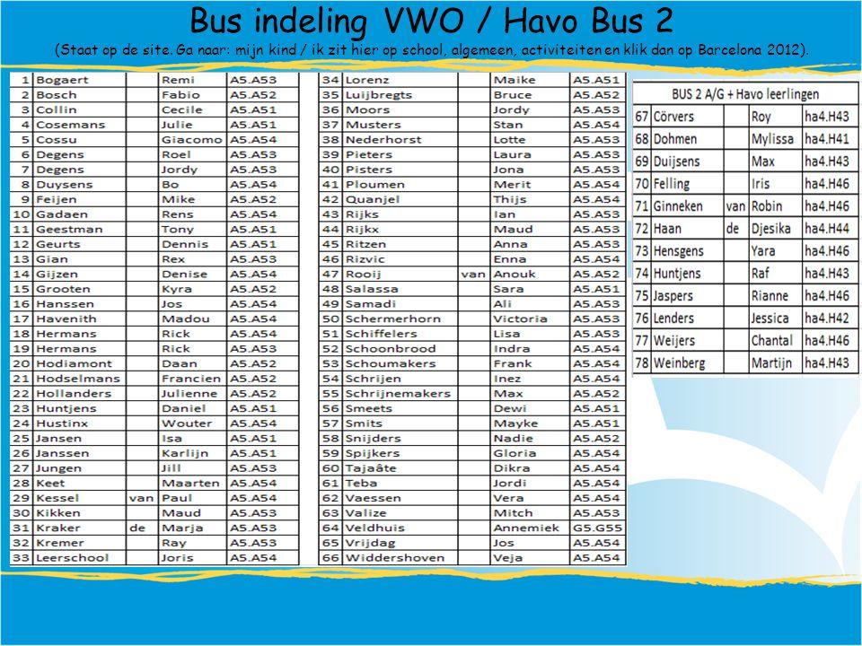 Bus indeling VWO / Havo Bus 2 (Staat op de site.