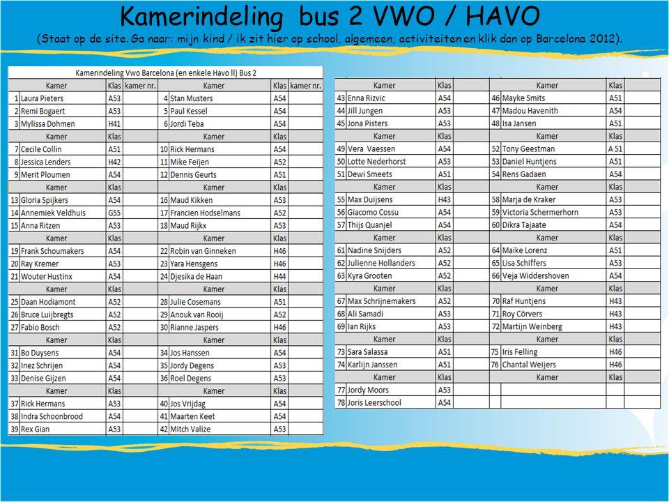 Kamerindeling bus 2 VWO / HAVO (Staat op de site.