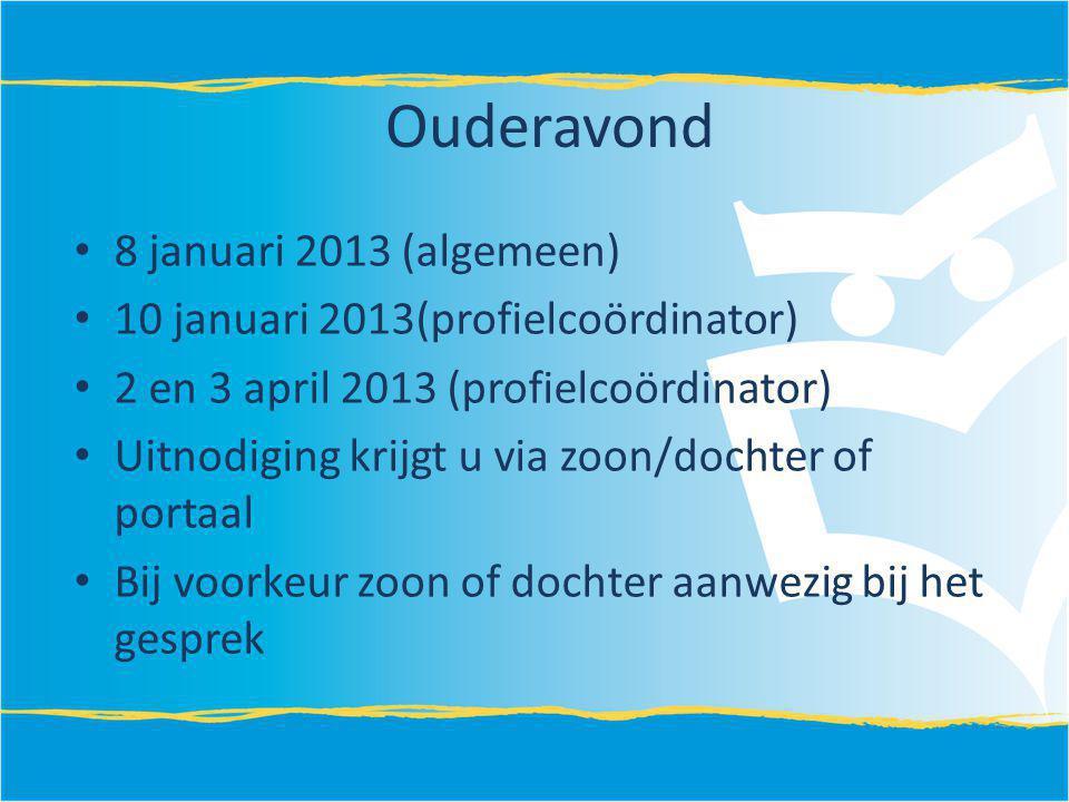 Ouderavond 8 januari 2013 (algemeen) 10 januari 2013(profielcoördinator) 2 en 3 april 2013 (profielcoördinator) Uitnodiging krijgt u via zoon/dochter