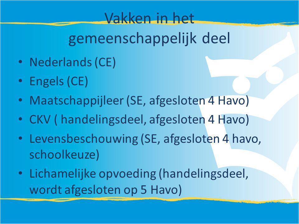 Vakken in het gemeenschappelijk deel Nederlands (CE) Engels (CE) Maatschappijleer (SE, afgesloten 4 Havo) CKV ( handelingsdeel, afgesloten 4 Havo) Lev