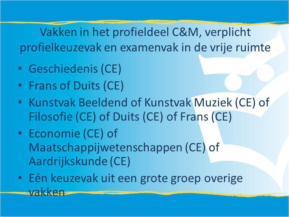 Vakken in het profieldeel C&M, verplicht profielkeuzevak en examenvak in de vrije ruimte Geschiedenis (CE) Frans of Duits (CE) Kunstvak Beeldend of Ku