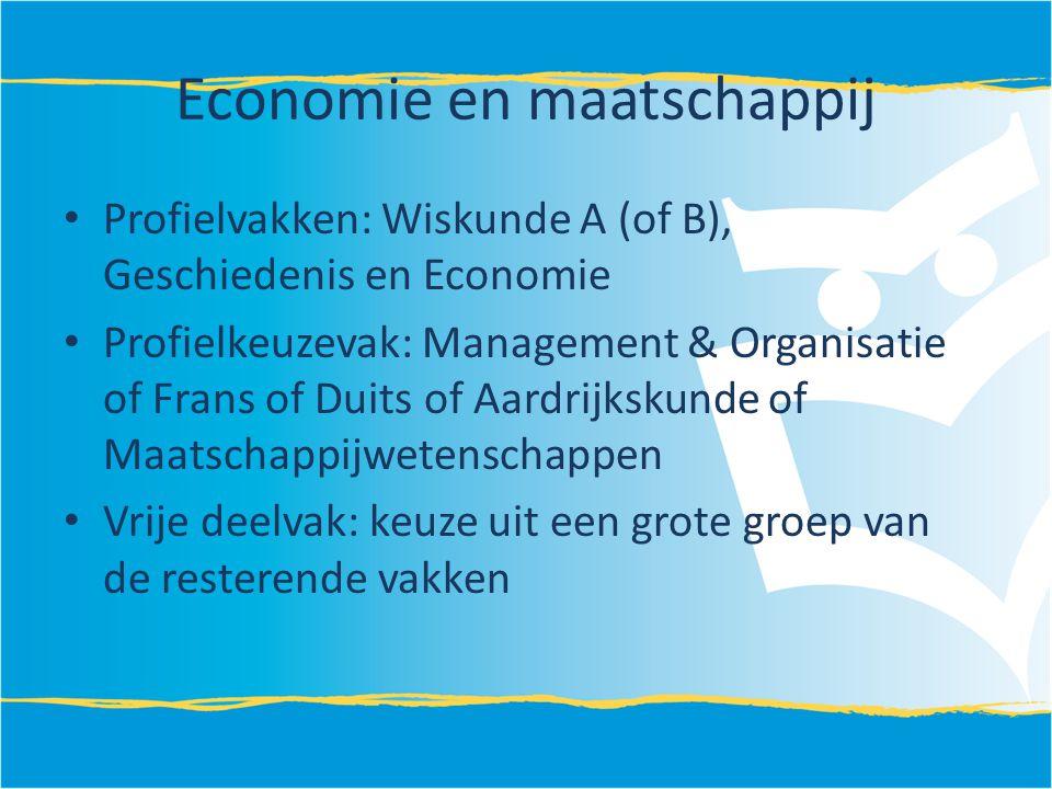 Economie en maatschappij Profielvakken: Wiskunde A (of B), Geschiedenis en Economie Profielkeuzevak: Management & Organisatie of Frans of Duits of Aar