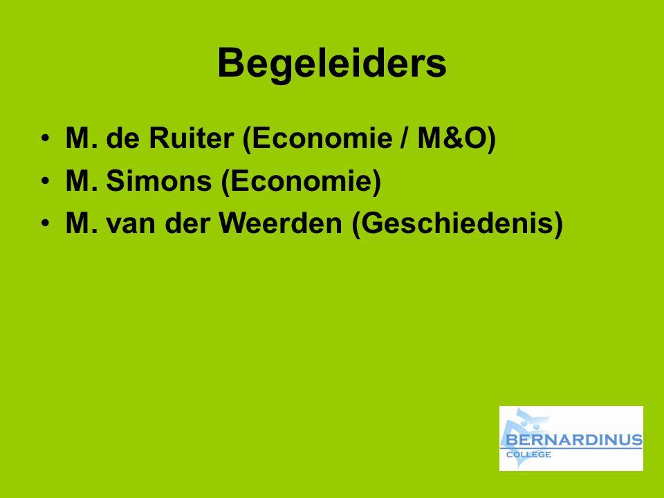 Begeleiders M. de Ruiter (Economie / M&O) M. Simons (Economie) M. van der Weerden (Geschiedenis)