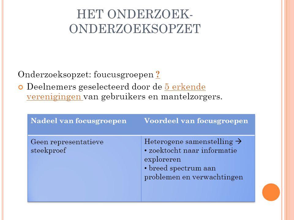 HET ONDERZOEK- ONDERZOEKSOPZET Onderzoeksopzet: foucusgroepen .