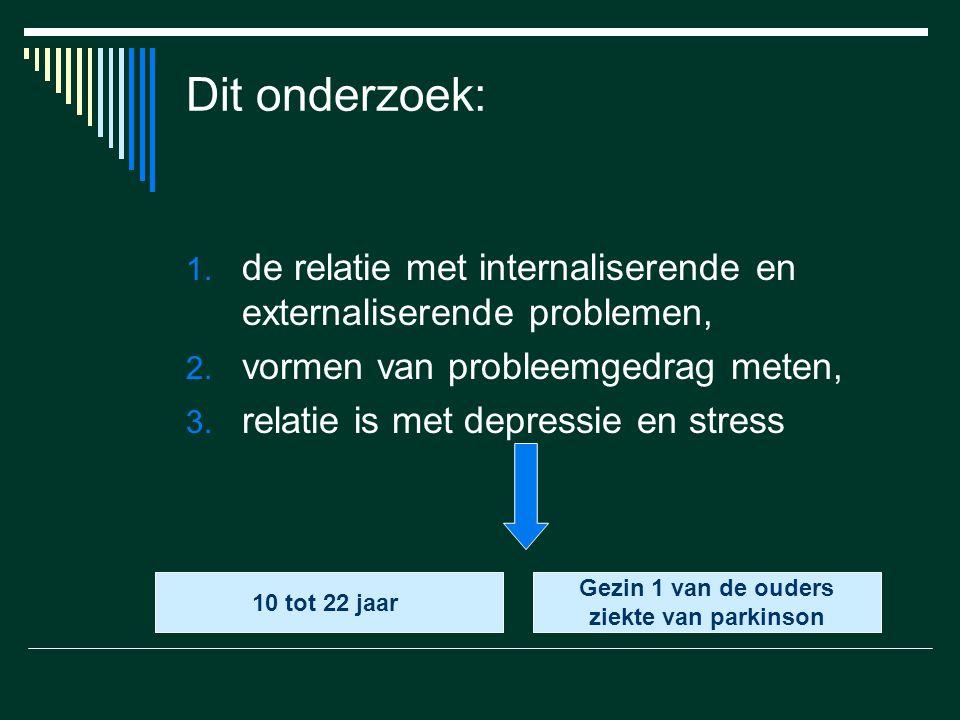 Dit onderzoek: 1. de relatie met internaliserende en externaliserende problemen, 2. vormen van probleemgedrag meten, 3. relatie is met depressie en st